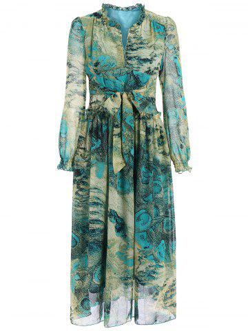 Store Chic Long Sleeve Peacock Feather Printed Waist Tied Chiffon Dress For Women