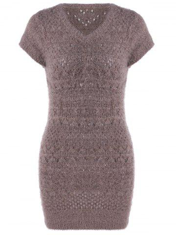 Cheap Elegant V-Neck Hollow Out Short Sleeves Sweater Dress