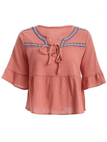 Affordable Ethnic Flare Sleeve Jacquard Blouse For Women