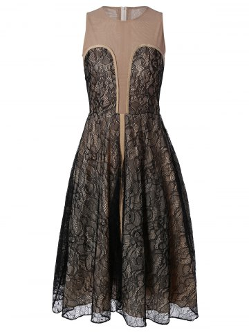 Discount Slimming Lace Flare Dress For Women