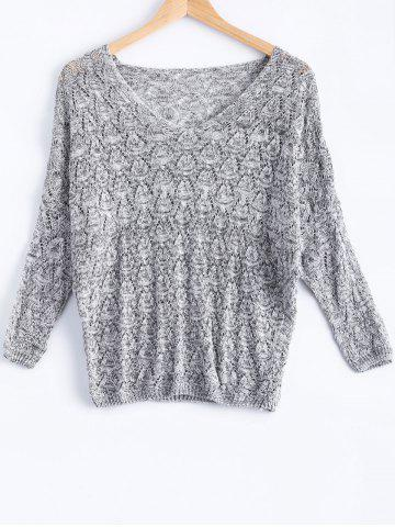 Buy Casual V-Neck Batwing Sleeve Hollow Knitwear For Women