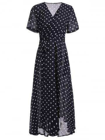 Store Retro Style V-Neck Polka Dot Pleated Dress For Women