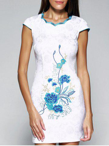 Unique Retro Wavy Cut Jacquard Embroidered Dress For Women