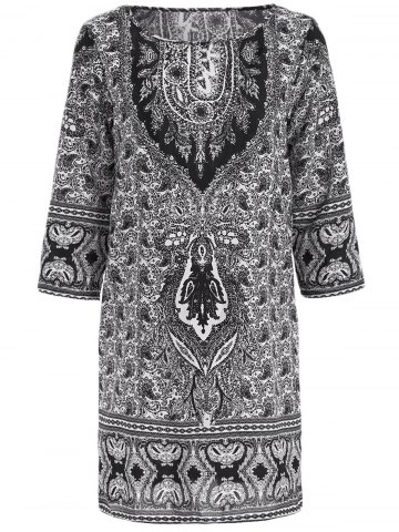 Chic Ethnic Style Jewel Neck 1/2 Sleeve Totemic Floral Print Dress For Women