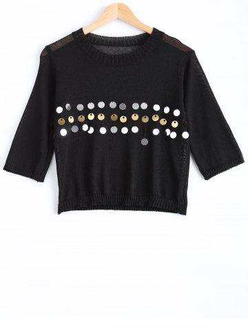 Cheap Sweet Front Sequined Pure Color Cropped Pullover Sweater