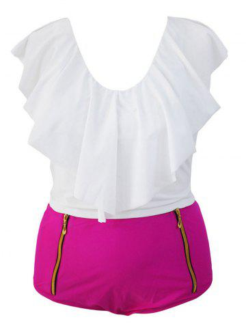 Buy Stylish Ruffle Crop Top and High Waisted Boxers Briefs Two Piece Swimsuit