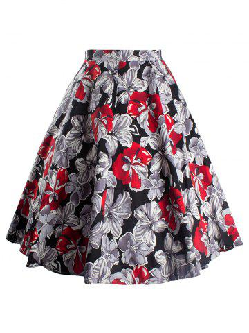 Chic Vintage Floral Printed Skater Skirt RED 2XL