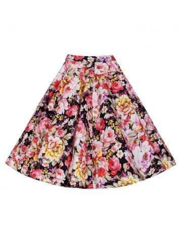 Cheap Vintage Colorful Floral Printed Skirt