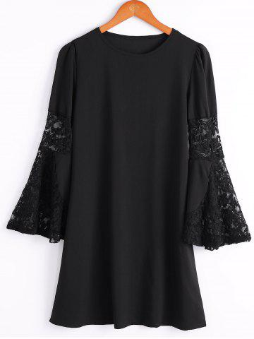 Outfits Stylish Scoop Neck Flare Sleeve Lace Spliced Chiffon Dress For Women