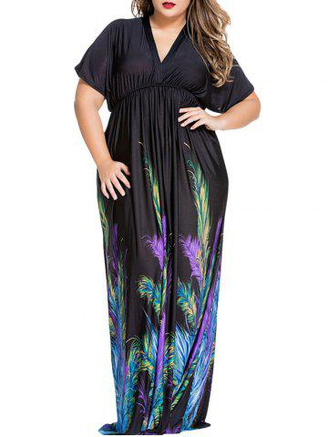 Store Plus Size Feather Print Maxi Empire Waist Dress