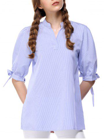 Shops Fashionable Half Sleeve Pinstriped Women's Blouse