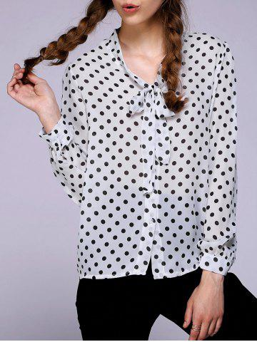 Store Chic Bow Tie Collar Long Sleeve Polka Dot Women's Blouse