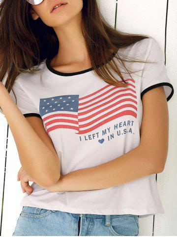 Sale Trendy Round Neck Flag Print Women's T-Shirt