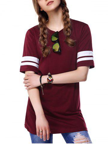 Hot Trendy Round Neck Color Block Women's T-Shirt