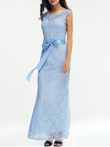 Store Open Back Maxi Lace Prom Dress