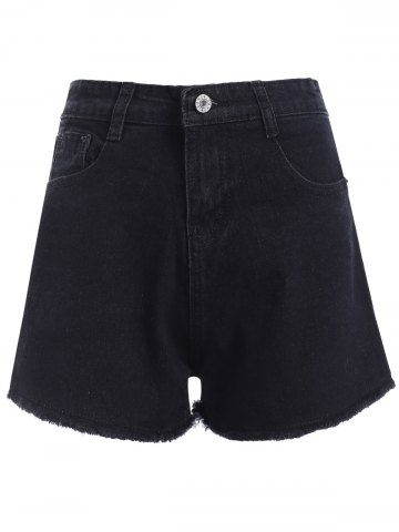 Buy Casual Women's Black Fringed High Waist Denim Shorts