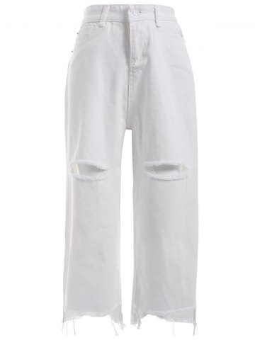 Online Simple Women's Broken Hole White Denim Pants