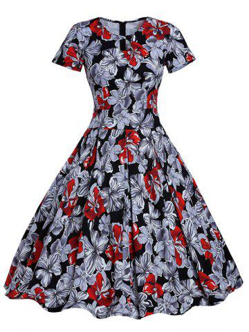 Sale Retro Hole Floral Print High Waisted Flare Dress