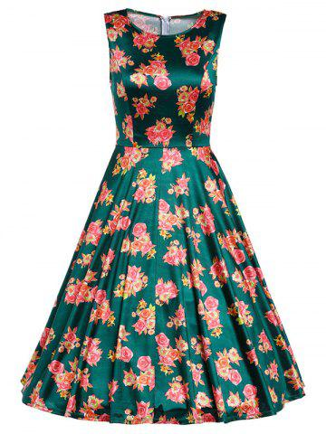 Unique Retro Sleeveless Floral Prom Dress