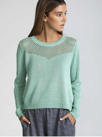 Store Long Sleeve Hollow Out Pure Color Sweater GREEN M