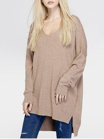 Trendy Brief Women's Pure Color Asymmetric Loose Sweater KHAKI ONE SIZE