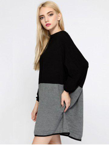 Sale Color Block Batwing Sleeve Oversized Sweater Dress - ONE SIZE BLACK AND GREY Mobile