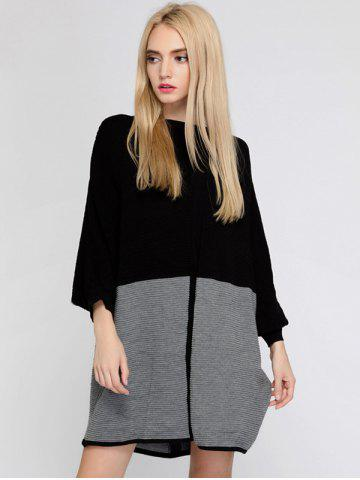 Shops Color Block Batwing Sleeve Oversized Sweater Dress - ONE SIZE BLACK AND GREY Mobile