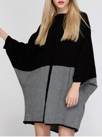 Store Color Block Batwing Sleeve Oversized Sweater Dress - ONE SIZE BLACK AND GREY Mobile