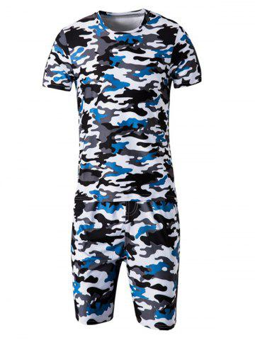 Hot Camo Round Neck Short Sleeve T-Shirt and Elastic Waist Shorts Twinset For Men BLUE L