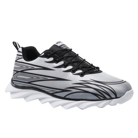 Outfit Fashion Lace-Up and Color Splicing Design Athletic Shoes For Men - 43 BLACK AND GREY Mobile