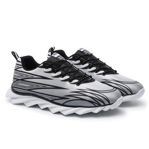 Latest Fashion Lace-Up and Color Splicing Design Athletic Shoes For Men - 43 BLACK AND GREY Mobile