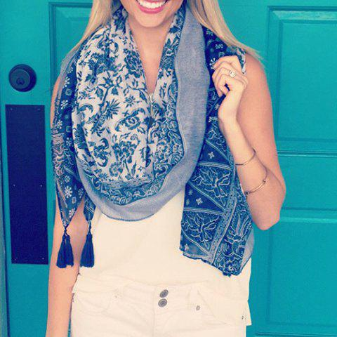 Outfits Chic Embellished Ethnic Printed Tassels Multifunctional Pashmina For Women