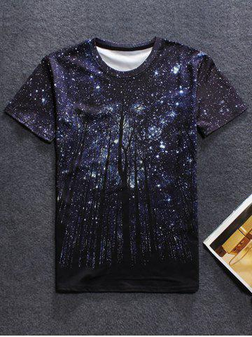 Outfits Round Neck Short Sleeve Starry Sky 3D Print T-Shirt For Men BLACK 2XL