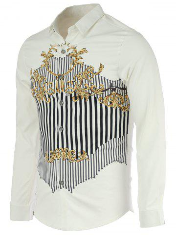 Fancy Chic Stripe Spliced Design Turn-Down Collar Long Sleeve Shirt For Men - M WHITE Mobile