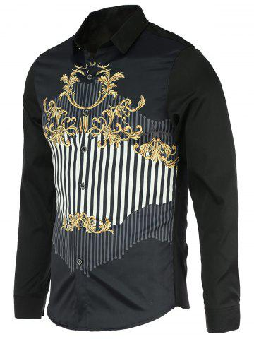 Sale Chic Stripe Spliced Design Turn-Down Collar Long Sleeve Shirt For Men - L BLACK Mobile
