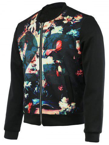Shops Floral Print Splicing Bomber Jacket BLACK 2XL