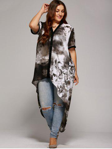 Chic Plus Size Single Breasted Asymmetrical Blouse - XL GRAY Mobile