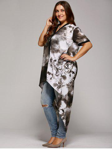 Discount Plus Size Single Breasted Asymmetrical Blouse - XL GRAY Mobile