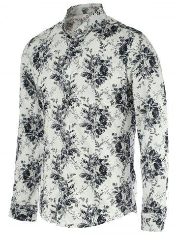 Discount New Look Flowers Print Turn-Down Collar Long Sleeve Shirt For Men