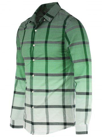 Latest Fashion Gradient Color Stand Collar Long Sleeve Checked Shirt For Men GREEN XL