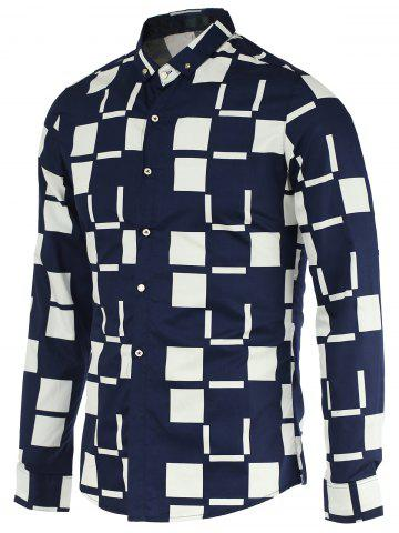 Outfit Turn-Down Collar Color Block Checked Pattern Long Sleeve Button-Down Shirt For Men