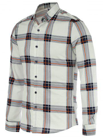 Discount Turn-Down Collar Checked Pattern Long Sleeve Button-Down Shirt For Men