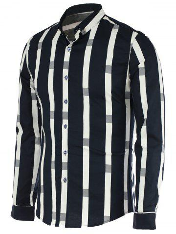 Outfits Turn-Down Collar Vertical Stripe Spliced Pattern Long Sleeve Button-Down Shirt For Men DEEP BLUE 2XL