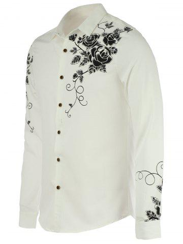 Fancy Turn-Down Collar Roses Print Long Sleeve Shirt For Men