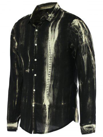 Watercolor Stripe Print Stand Collar Long Sleeve Shirt For Men - White And Black - L