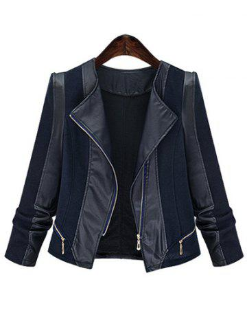 Affordable Plus Size Chic Zipped Leather Patchwork Jacket For Women BLACK 5XL