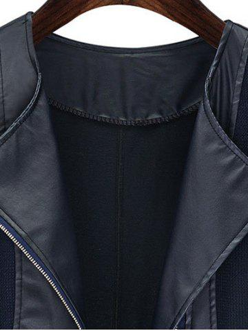 Hot Chic Zipped Leather Patchwork Jacket For Women - 3XL BLACK Mobile
