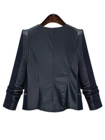 Online Chic Zipped Leather Patchwork Jacket For Women - XL BLACK Mobile