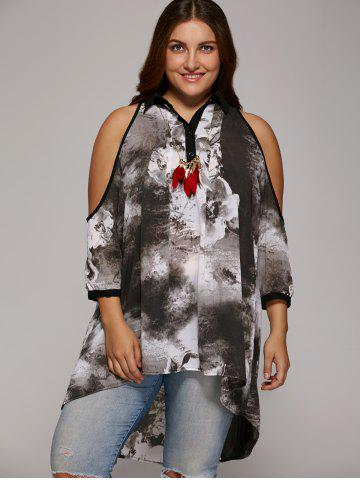 New Plus Size Cold Shoulder Ink Painting Blouse GRAY 3XL