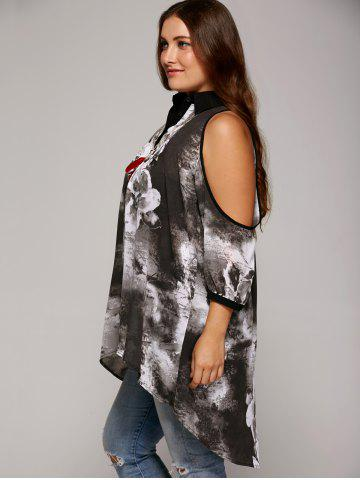 Buy Plus Size Cold Shoulder Ink Painting Blouse - 3XL GRAY Mobile